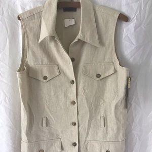 NWT 90's Tracy Evans linen vest beige
